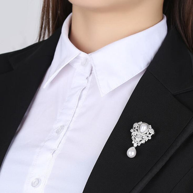 VOGUESS Luxury CZ Crystal Simulated Pearl Brooches For Women Silver Color Brooch And Pins Jewelry Suit Clothes Clips