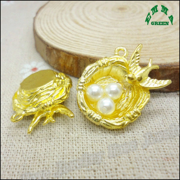 Various Design 3D Bird Egg Nest Zinc Alloy Gold Silver Or Bronze Plated Animal Bird Cage Charms For DIY Bracelet Necklace