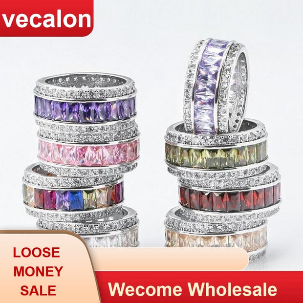 Vecalon 8 Colors Birthstones Ring White Gold Filled Princess Cut Zircon Crystal Wedding Band Ring For Women Dropshipping Jewelry