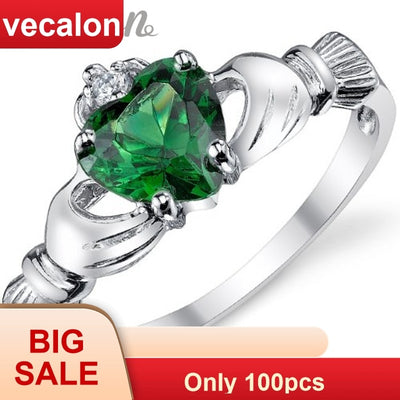 Vecalon Claddagh Style Women Fashion Jewelry Ring Green AAAAA Zircon Cz S925 Silver Engagement Wedding Band Ring For Women