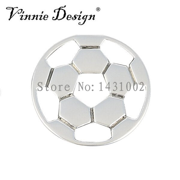 Vinnie Design Jewelry Football Soccer Slide Charms Fit On Keeper Bracelet Keys For Wrap Bracelets 10pcs/lot