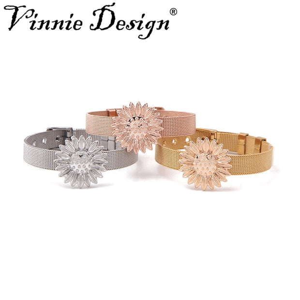 Vinnie Design Jewelry Stainless Steel Mesh Bracelet With Big Size Sunflower Slide Charms