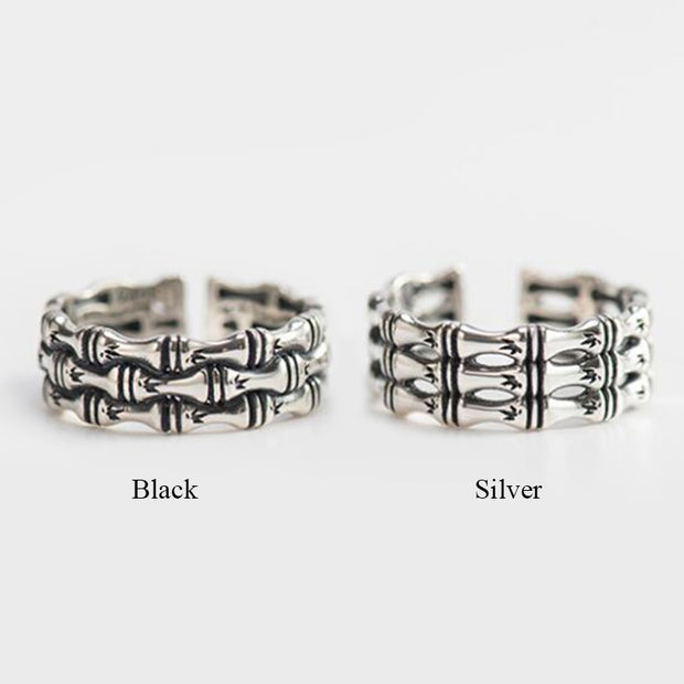 Vintage 925 Sterling Silver Rings For Women Three Layers Bamboo Adjustable Rings For Party Anel Feminino Jewelry