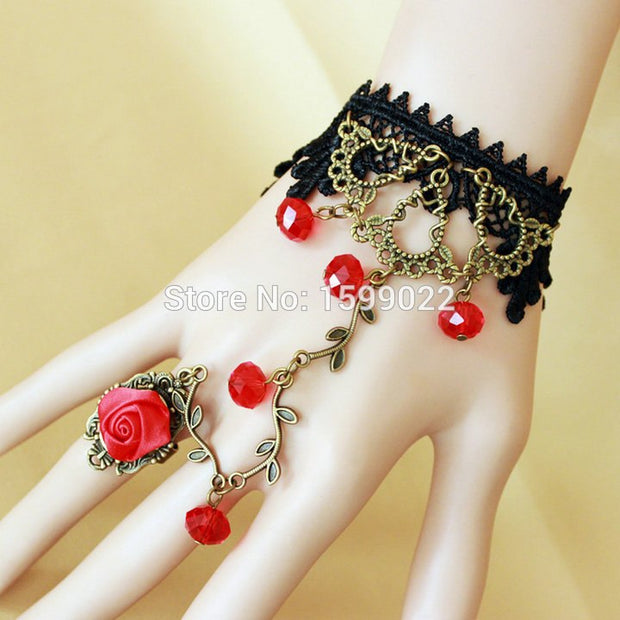 Vintage Black Lace Bangle Vampire Bracelet Red Glass Crystal Rhinestone Antique Bronze Branches Rose Flower Finger Decoration