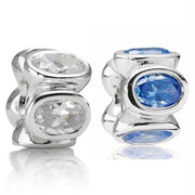Vintage Blue & Clear Oval Lights Love Heart With Crystal Spacer Beads Fit Pandora Bracelet 925 Sterling Silver Charm