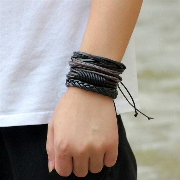 Vintage Handmade Braided Bracelets For Man 4 Pcs/Set Multilayer Leather Bracelet Rope Chain Wristband Men Fashion Brand Jewelry