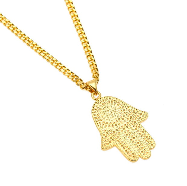 Vintage Multilayer Gold Color Chain Fatima Hamsa Hand Pendants Necklace Luck Hand Palm Nice Necklace Collares