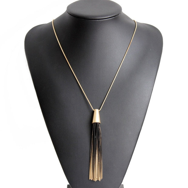 Vintage Punk Alloy Gradient Black Long Pendant Top Quality Gold Chain Tassel Bohemia Ethnic Necklace Women Jewelry