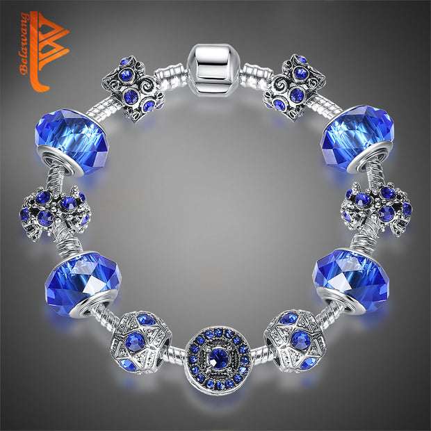 Vintage Style Blue Austrian Rhinestone Glass Charm Bracelet For Women With Silver Color Beads Brand Bracelet Jewelry