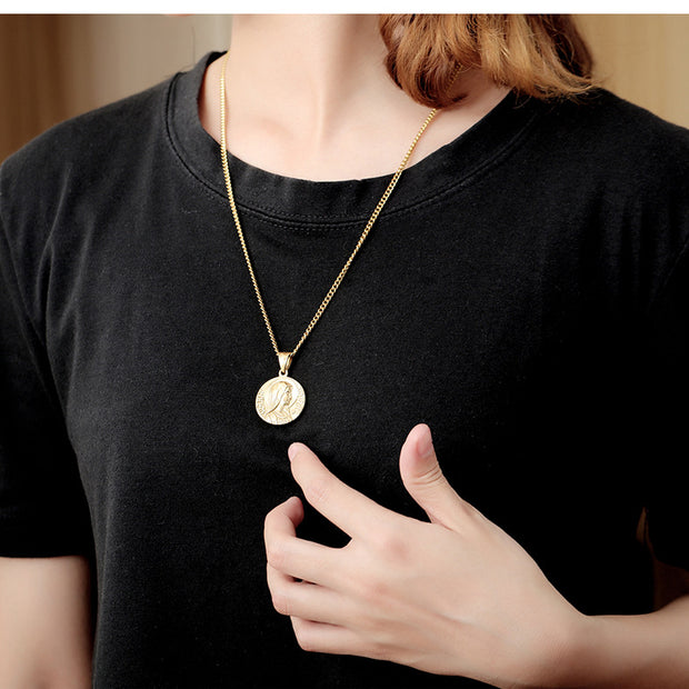 Virgin Mary Round Stainless Steel Pendants Necklaces For Men Women Catholicism Jewelry Gold Silver Color