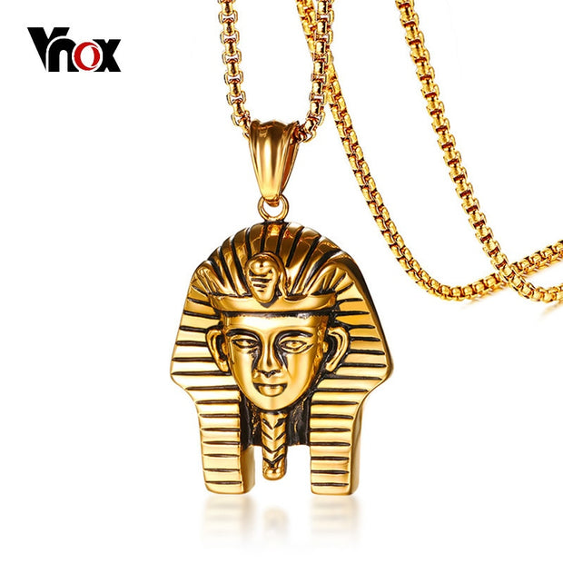 "Vnox Egyptian Pharaoh Pendant For Men Necklace Gold Color 24"" Box Chain Stainless Steel Male Punk Jewelry Religious Jewellry"