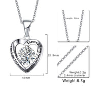 Vnox Engraved Words Heart Necklace Pendant For Women Necklace CZ Stone Elegant Jewelry 20 Inch Chain