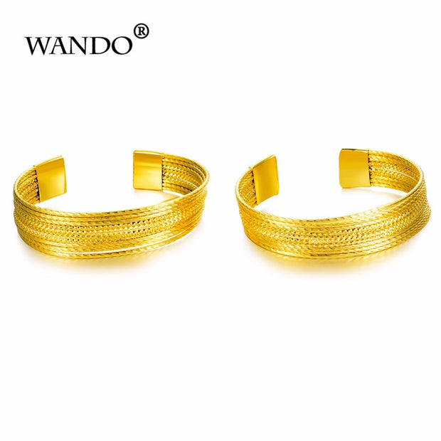 WANDO Arab Bangle For Women Gold Color Jewelry Fashion Bracelet Trendy Jewelry Ethiopian Wedding Africa Bride Wb54