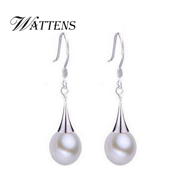 WATTENS Genuine Natural Pearl Stud Earrings,Pearl Jewelry With 925 Sterling Silver Earrings,earrings For Women