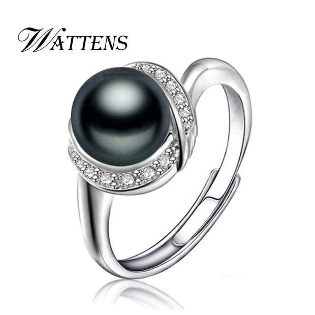 WATTENS Natural Pearl Ring For Women ,925 Sterling Silver Adjustable Punk Ring With AAA Zircon Pearl Jewelry Wedding Party Ring