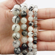 WLYeeS Natural Smooth Black Rutilated Quartz Crystal Stone 6 8 10 12mm Round Loose Beads For Women Jewelry Bracelets Making DIY