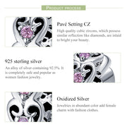 WOSTU 2018 Authentic 925 Sterling Silver Cubic Zircon Pink Heart Spacer Charms Gift For Women Original Bracelet Beads BKC339