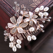 Wedding Women Pearl Flower Hair Combs Beautiful Rhinestone Hair Jewelry HandmadeGold Color Bridal Hair Ornament Accessories