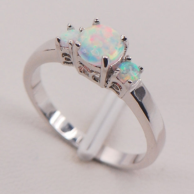 White Fire Opal Australia 925 Sterling Silver Woman Jewelry Ring Size 6 7 8 9 10 11 F575