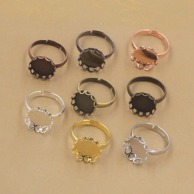 Wholesale 40pcs 10mm-20mm Cabochon Tray Lace Ring Blank Cameo Tray,Bronze/Gold/Silver/Black Zakka Ring Setting,DIY