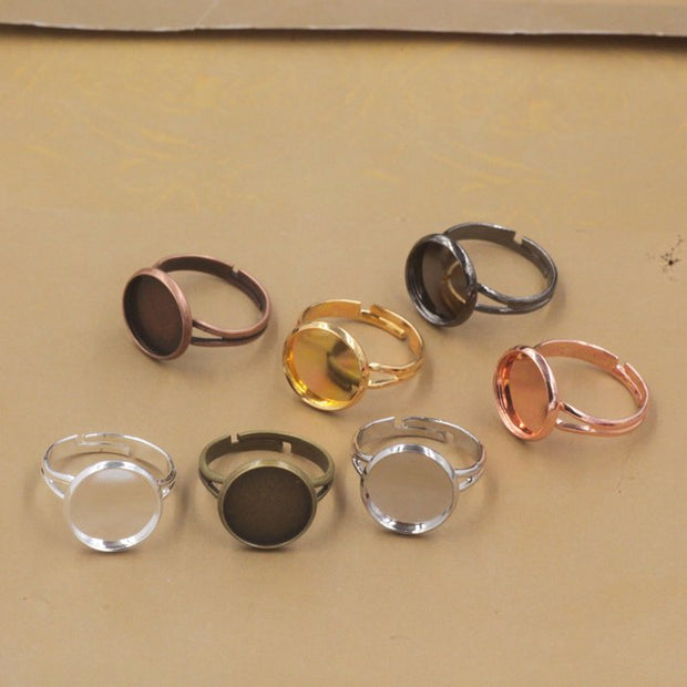 Wholesale 50pcs 10mm,12mm,14mm,16mm,18mm,20mm Cabochon Tray Ring Blank Cameo Tray,Bronze/Gold/Silver/Black Ring Setting,DIY