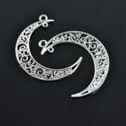 Wholesale 50pcs/lots 40*35mm Fashion Silver Plated Moon Charms Metal Pendants Diy Jewelry Findings Z42284