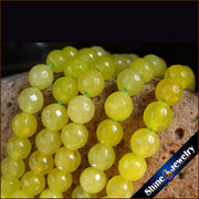 "Wholesale 6mm High Gloss Yellow Druzy Agates Faceted Round Stone Loose Beads Strand 15"" Free Shipping"