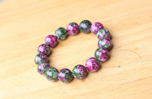 Wholesale 8mm 10mm 12 Mm Natural Green Red Stone Bracelet Stone Round Beads Jewelry Men Women Bracelet