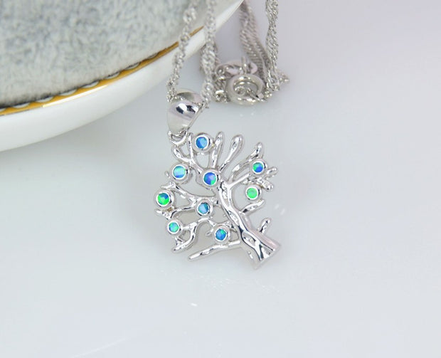 Wholesale & Retail Fashion Jewelry Fine Blue Fire Opal Blue Tree Stone Sterling Sliver Pendants For Women PJ17082715