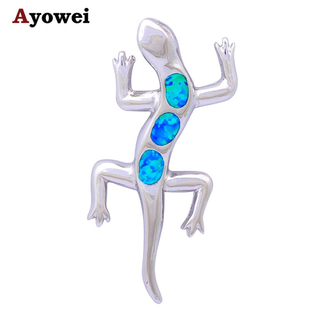 Wholesale Retail Huge Lovely Crawling Gecko Blue Fire Opal Fashion Jewelry Stamp Silver Necklace Pendants OP249A