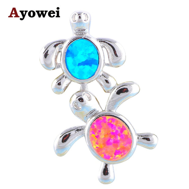 Wholesale & Retail Ocean Set Color Fire Opal Stamp Silver Fashion Jewelry Necklace Pendants For Boy And Girl OP465A