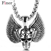 Wholesale Stainless Steel Skull Pendant Necklace For Man Punk Wing Jewelry Good Detail Choker Free Shipping