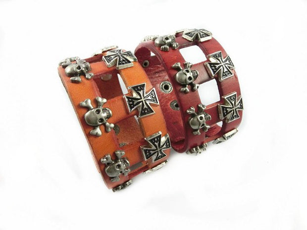 Wholesale High Quality Punk Cowhide Bracelet,fashion Jewelry,100% Genuine Leather,handmade Jewelry S015