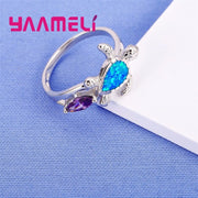 Winter Sale Fire Opal Ring Blue And Purple Color Wedding Band Luxury Turtle Jewelry 925 Sterling Silver Ring For Women
