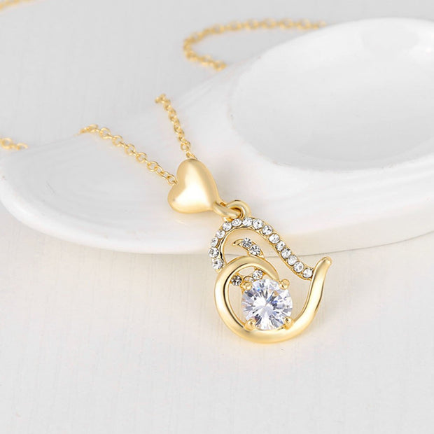 Women Crystal Necklace Jewelry Rhinestone Love Heart Chain Mother's Day Pendant