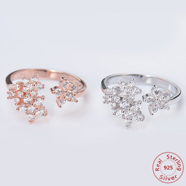 Women Flower Rings Open Finger Sterling 925 Silver Rings Luxurious Dazzling Cubic Zirconia Ring For Woman Real Silver Jewelry
