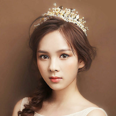 Women Girls Bridal King Queen Baroque Tiaras Headbands Rhinestone Bride Tiaras Satin Ribbon Women Wedding Gold Hair Jewelry A LB