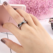Women Rings Made Of Ceramics Stainless Steel Rings Double Two Cross Rings Crystal CZ Bijou Ceramique Anillo Acero Inoxidable