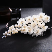 Women White Flower Hair Comb Wedding Hair Jewelry Handmade Bridal Headpiece Bridesmaid Hair Accessories Gold Bride Hairpiece