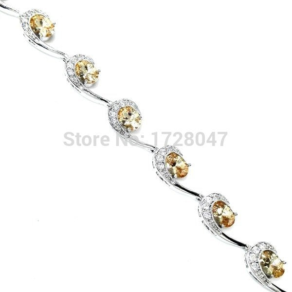 Women Accessories Champagne Morganite Zircon Silver Filled Bracelets For Women Health Nickel & Lead Free Fashion Jewelry