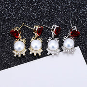XIUMEIYIZU Fashion Red Heart Shell Pearl Shape Drop Earrings Fine Cubic Zirconia Earrings For Women Mother's Birthday Gift