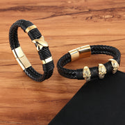 "XQNI 2019 New Classic Style Fashion Jewelry With ""X""Pattern & Skeleton Genuine Leather Bracelet Accessories Bangle For Men Gift"