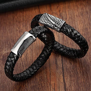 XQNI Stainless Steel Chain Bracelet Men Genuine Leather Bracelets Black Color Leather Bracelet For Women Rope Jewelry Vintage
