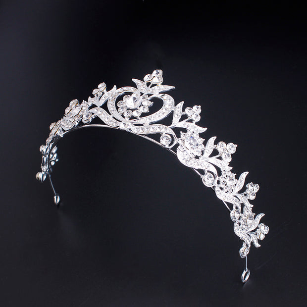 Xinyun New Korean Fairy Girl Rhinestone Flower Crown Bridal Tiara Wedding Hair Accessories Princess Party Dress Crown Decoration
