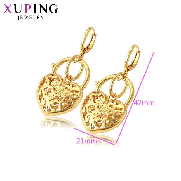 Xuping Elegant Engagement Heart Shaped Earrings Pure Gold Color For Women Thanksgiving Jewelry Gift S102,2-97043
