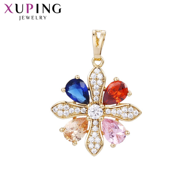 Xuping Fashion Colorful Flower Shape Pendant Jewelry Wild Style For Women Girls Mother's Day Gifts S111,3-32898