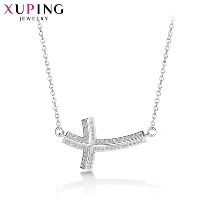 Xuping Fashion Elegant Rhodium Color Plated Cross Pendant Necklace For Women Mother's Day Jewelry Gift M54-40081