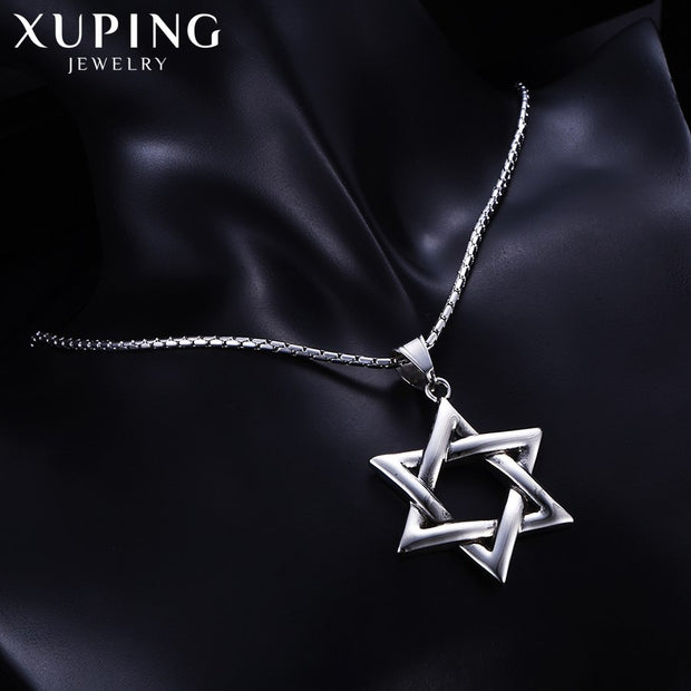 Xuping Fashion Hexagonal Star Shape Necklace Pendant Stainless Steel Jewelry For Neutral Valentine's Gift M45-30146