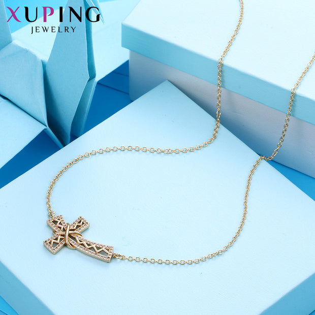 Xuping New Arrival Fashion Gold Color Plated Cross Pattern Pendant For Women Mother's Day Jewelry Gift M54-40090