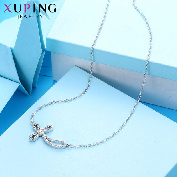 Xuping New Arrival Rhodium Colo Plated Cross Pattern Necklace Pendant For Women Mother's Day Jewelry Gift M54-40070
